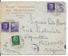 1942 - OCCUPATION ITALIENNE En FRANCE - RARE ENVELOPPE De MENTON Avec CENSURE => PHILIPPEVILLE (ALGERIE) - Poststempel (Briefe)
