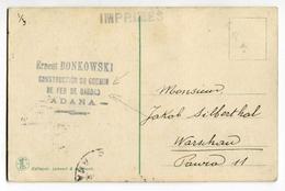 !!! CARTE POSTALE AU TARIF IMPRIME DE 1917 EN-TETE BONKOWSKI CONTRUCTION DU CHEMIN DE FER BAGDAD - ADANA - Cilicie (1919-1921)