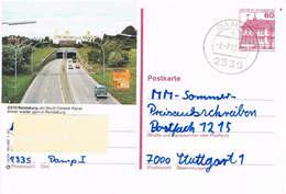 Deutschland Bildpostkarte Rendsburg - Nord- Ostsee- Kanal - Tunnel - Autobahn, Autos, Schiff - Bildpostkarten - Gebraucht