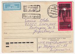 Russia Illustrated Postal Stationery Letter Cover Travelled Registered 1980 Vilnius To Sarajevo B170328