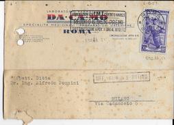 """ANNULLO A TARGHETTA """"OBBLIGAZIONI IMI..."""" 1951 UFF. ROMA FERR. - ORNAGHI 552Ah.51 SU CARTOLINA INTESTATA - 6. 1946-.. Repubblica"""