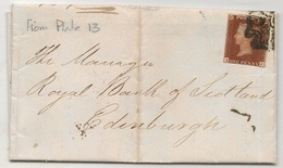 UK - 1841 ONE PENNY Red - From Plate 13 - Black Maltese Cross London I - Apparently No. 1 In Cross - 1840-1901 (Victoria)