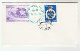 1971 GB POSTAL STRIKE COVER 10/-  SSS SAFE SPEEDY SERVICE Label  Great Britain BELGIUM Heraldic Lion Stamps - Cinderellas