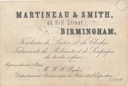 MARTINEAU & SMITH , 65 HILL STREET - FONDEURS DE LAITON ET DE CLOCHES - Visiting Cards