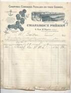 72 - LE MANS - USINE  CHANVRES, CORDAGES, CHAFAROUX - L'ANCRE DE MARINE - FACTURE ILLUSTRÉE 1909 - Le Mans