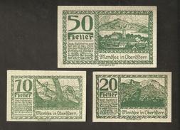 P37-15. Austria Mondsee In Oberösterreich 10 & 20 & 50 Heller 1920 Austrian Notgeld 3psc. Lot - Autriche