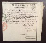 REGNO D'ITALIA  RICEVUTA IN BOLLO R.I. SOLDI 2.6  è+ DUE BOLLI VERDE E ROSSO CON CORONA DEL 7/6/1808 - Manoscritti
