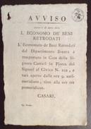 REGNO D'ITALIA  PADOVA 28/4/1812 MANIFESTO ( 20X29) DIPARTIMENTO DEL BRENTA BENI RETRODATI IN BOLLO 3cent. - Manoscritti
