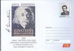 58329- ALBERT EINSTEIN YEAR, SCIENTIST, COVER STATIONERY, 2005, ROMANIA