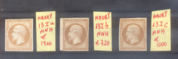 FRANCE EMPIRE NON DENTELE NAPOLEON III AN 1853 MAURY NRS. 13I A, B Et C MNH AVEC 3 CERTIFICATIONS D'EXPERTS AU DOS - 1853-1860 Napoléon III