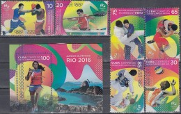 2016.92 CUBA 2016 MNH + HF. JUEGOS OLIMPICOS RIO DE JANEIRO. BOXEO VOLEIBOL. OLYMPIC GAMES BOXING VOLLEYBALL JUDO BRASIL - Unused Stamps
