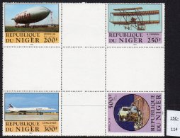 Niger Rep 1983 Flight Aviation: Zeppelin Farman Concorde Apollo XI Herzstuck – See Text. MNH