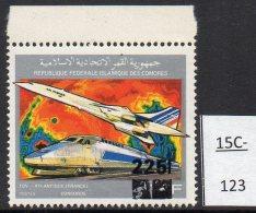 Comoro Is Comores 1990 Concorde TGV Train 375Fr Surcharged 225Fr – Scarce.  MNH