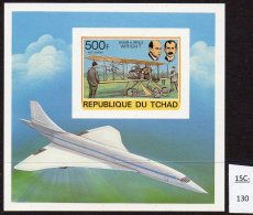 Chad Tchad 1978 Aviation : Wright Brothers Concorde M/s IMPERF. Lollini C20BA.  MNH