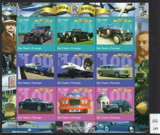 Sao Tome St. Thomas & Prince 2004 Cars Rolls-Royce, Concorde PERF Sheetlet/9 MNH