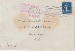 FRANCE :  N°140. TYPE SEMEUSE . OBL MECANIQUE . DE WASHINGTON POUR N-Y . 1917 . - Postmark Collection (Covers)