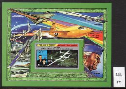 Djibouti 1987 IMPERF Voyager M/s Rutan Jeager Bell X-1 Concorde Solar Aircraft Etc. MNH.