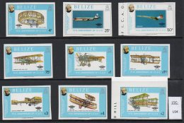 Belize 1979 Aircraft : Concorde Handley Page Avro Santos Dumont Wright Brothers IMPERF Set/9 MNH - Concorde