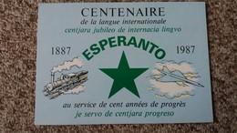 CPSM ESPERANTO CENTENAIRE DE LA LANGUE INTERNATIONALE 1887 1987 AU SERVICE PROGRES TRAIN CONCORDE - Esperanto