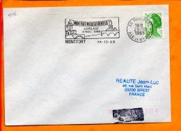 ILLE ET VILAINE, Monfort, Flamme SCOTEM N° 9516, Jumelage  Avec Marktheidenfeld, 5 Nov. 1988 - Oblitérations Mécaniques (flammes)