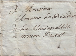 Lettre Préphiatélique De Tuteur 12 Avril 1816 De Bex (CH) à  Municipalité Ormon Desout - - Manoscritti