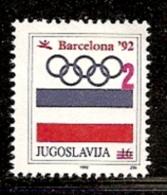 004. Yugoslavia, 1992, Olympic Games In Barcelona, Surcharge, MNH (**) - 1992-2003 Federal Republic Of Yugoslavia