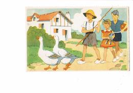 Cpa Illustration Comité Colonies De Vacances - Scouts Scout Fillette Poupée Garçon Ballon Oies - N°1 Georges Lang - Padvinderij