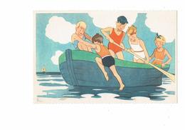 Cpa Illustration Comité Colonies De Vacances - Scouts Scout Fillette Poupée Garçon Maillot Bain - N°3 Georges Lang - Padvinderij