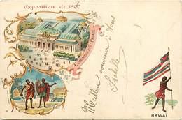 Ref R791- Exposition Universelle De Paris  De 1900- Dessin Illustrateur - Hawai -etats Unis D Amerique -carte Bon Etat - - Etats-Unis