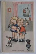 """CARTOLINA ANNI '40 """" BAMBINI - LIBETTA E TROTTOLINO (ILLUSTRATORE """"MARIAPIA"""") """" NON VIAGGIATA - Cartoline Umoristiche"""