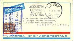 CGA Bolivie Lettre Avion Avec Cachet Spécial - Kommerzielle Luftfahrt