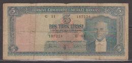 Turkey,Kemal Ataturk 1930 (25 /10/ 1961) Five Turk Lirasi,No´173,G. - Turchia