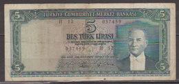 Turkey,Kemal Ataturk 1930 (25 /10/ 1961) Five Turk Lirasi,No´173,VF. - Turkey