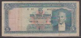 Turkey,Kemal Ataturk 1930(4-1-1965) Five Turk Lirasi,No´174,G. - Turchia