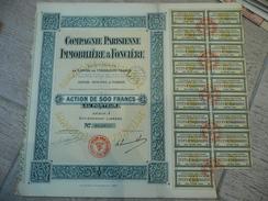 Compagnie Parisienne Immobilière Et Foncière 1929 Action De 500 F Série A - Tourisme