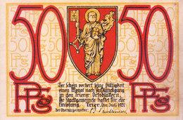 REICH GERMANY / NAZI GERMANY 1921 CINDERELLA - 50 PFENNING, NOTGELDDERSTADTTRIER - Miniatures