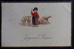 Carte Postale Ancienne Joyeuses Pâques Agneaux Enfant Berger 1930 - Pâques