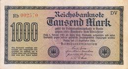 REICH GERMANY / NAZI GERMANY - BANK NOTE - 1922 - 1000 MARK - [ 2] 1871-1918 : Duitse Rijk