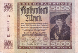 REICH GERMANY / NAZI GERMANY - BANK NOTE - 1922 - 5000 MARK - [ 2] 1871-1918 : Duitse Rijk