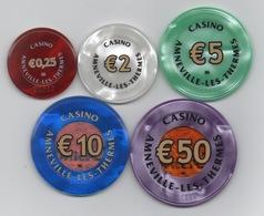 Belle Série De 5 Jetons BG Du Casino Amneville-les-Thermes Groupe Tranchant (€100 RETIRÉ) - Casino