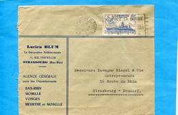 """Lettre -commerciale Cad Mai 1939 Strasbourg +flamme """"visitez Lafoire  Strasbourg  -timbreN°425 Cuirassé Clémenceau - Poststempel (Briefe)"""