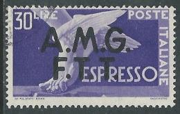 1947-48 TRIESTE A ESPRESSO USATO DEMOCRATICA 30 LIRE - L1 - 7. Triest