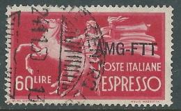 1950 TRIESTE A ESPRESSO USATO DEMOCRATICA 60 LIRE - L40 - 7. Triest