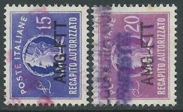 1949-52 TRIESTE A RECAPITO AUTORIZZATO USATO 2 VALORI - LL3 - 7. Triest
