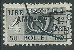 1949-53 TRIESTE A PACCHI POSTALI USATO 4 LIRE SEZIONE - LL1 - Paketmarken/Konzessionen
