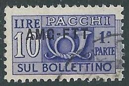 1949-53 TRIESTE A PACCHI POSTALI USATO 10 LIRE SEZIONE - LL1 - Paketmarken/Konzessionen