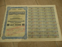 Banco El Hogar Argentino Action De 100 Pesos - Buenos Aires 1934 - Banque & Assurance