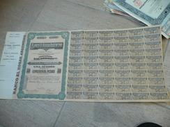 Rare, Avec Talon - Banco El Hogar Argentino Action De 50 Pesos - Buenos Aires 1924 - Banque & Assurance