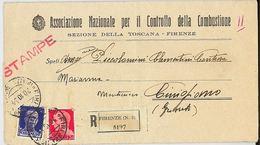 RACCOMANDATA 1934 ASS.NAZIONALE CONTROLLO COMBUSTIONE CON MDB (RL124 - 1900-44 Vittorio Emanuele III
