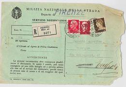 RACCOMANDATA 1943 MILIZIA NAZIONALE DELLA STRADA (MULTA) -STRAPPATA A DX (RL129 - Storia Postale